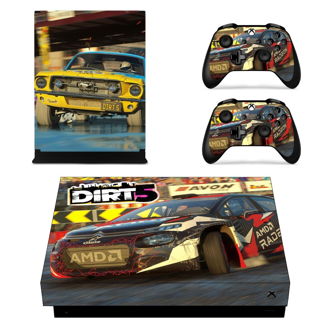 Dirt 5 decal skin for Xbox one X Console & Controllers