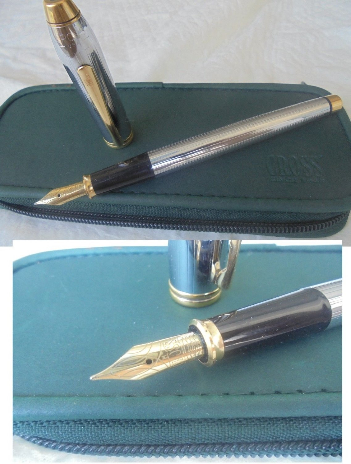 CROSS TOWNSEND MEDALIST FOUNTAIN PEN IN STEEL AND GOLD 23K PL. ORIGINAL