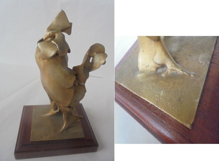 TOMMASO RESTELLI IL GALLO THE ROOSTER sculpture bronze ORIGINAL SCULTURA BRONZO DORATO anni '50