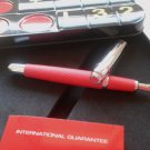 FERRARI DRIVE FOUNTAIN PEN IN STEEL AND RED LEATHER ORIGINAL