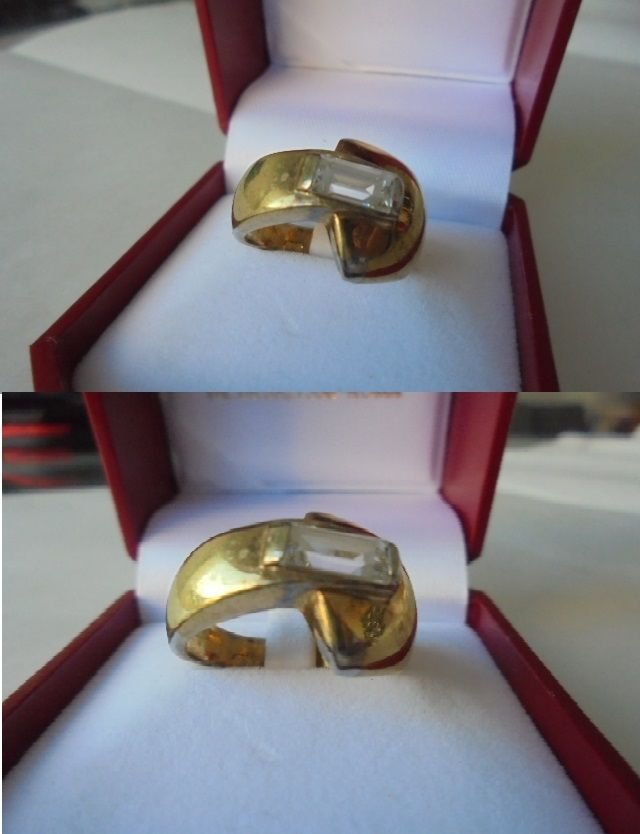 RING IN SILVER STERLING 925 AND GOLD PLATED WITH SAPPHIRE ORIGINAL