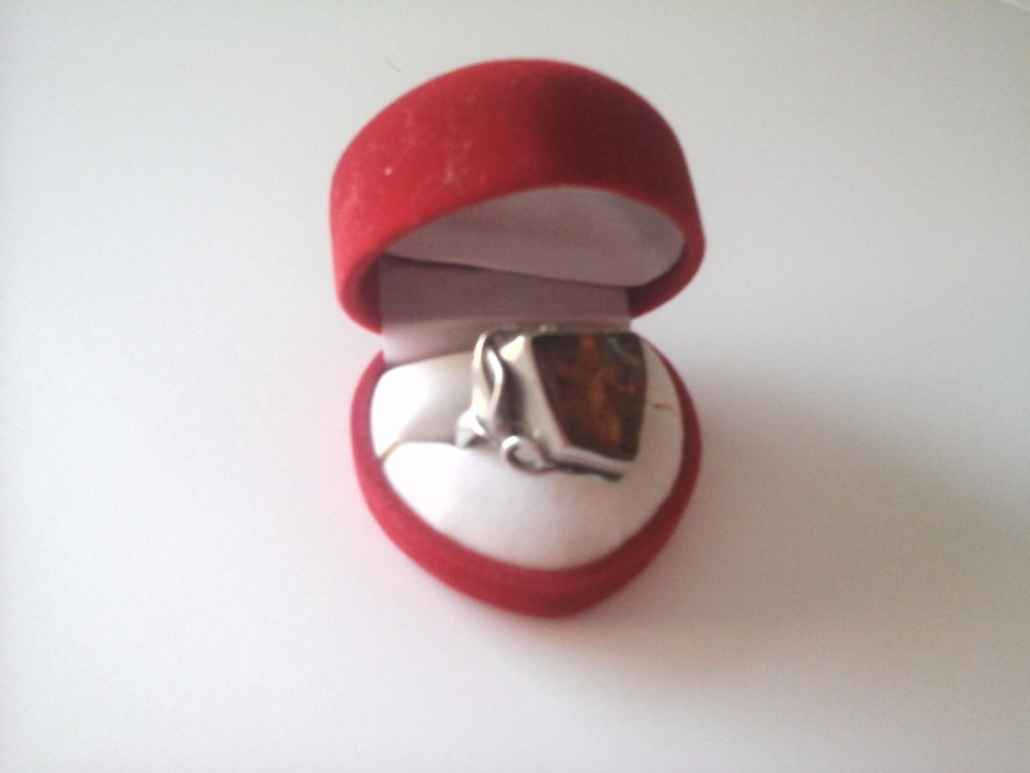 RING WITH AMBER AND IN STERLING SILVER 925 ORIGINAL IN GIFT BOX