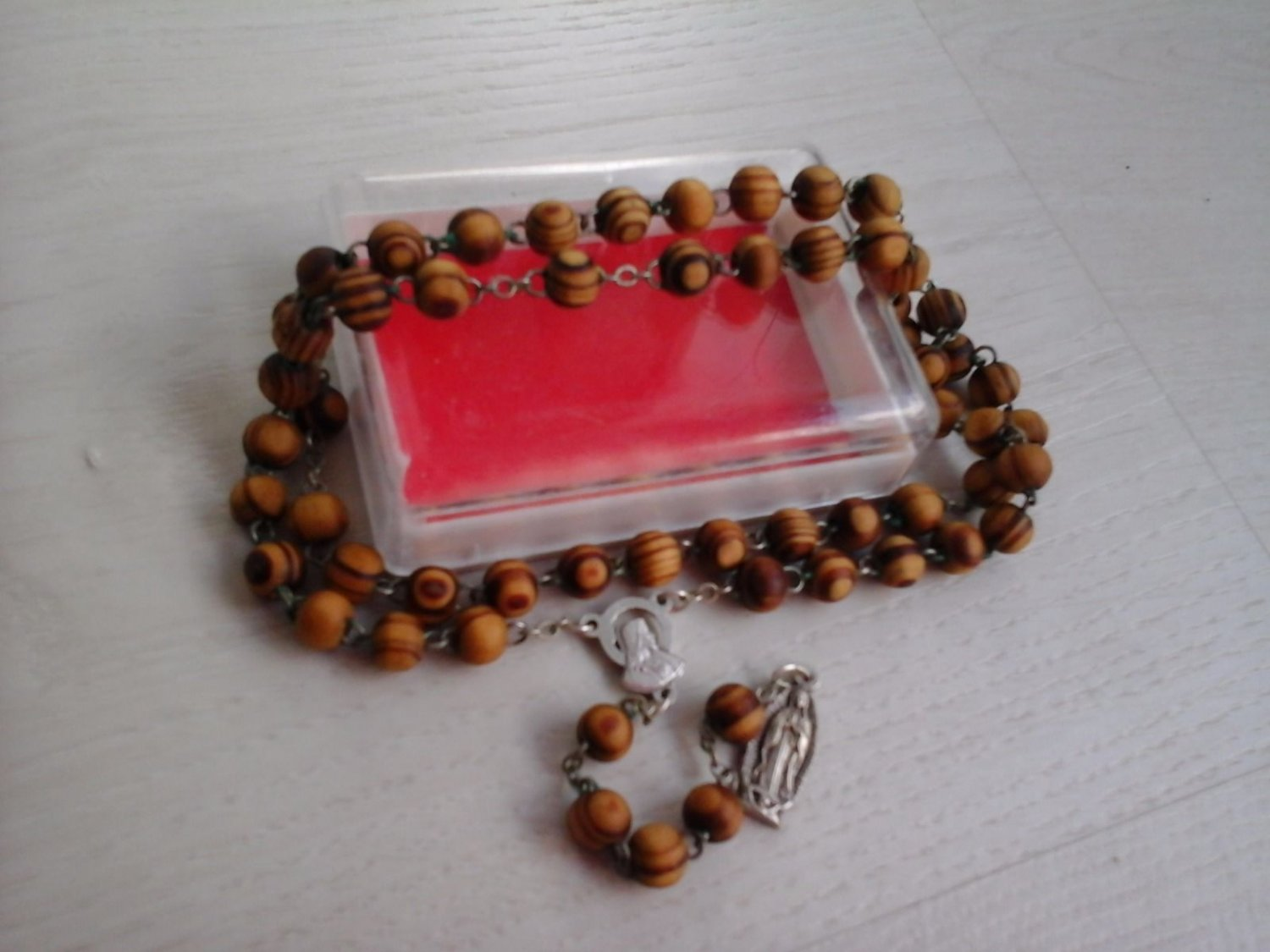 ROSARY BEADS MEDJUGORJE IN OLIVE WOOD FROM 1984 LONG cm 44 ORIGINAL