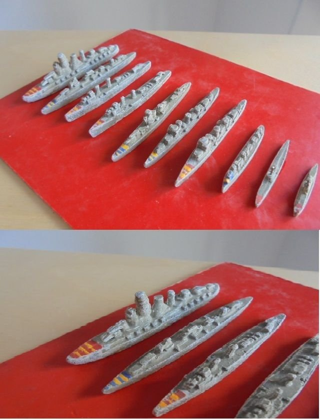 10 MODELS MINIATURE BOATS OF THE CATAN SPANISH MARINES IN LEAD 1939 ORIGINAL