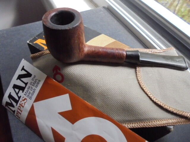 MAN MAXMAN ISLE OF MAN 312 + GARANTEE + BOX SMOKED PIPE ORIGINAL