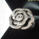 ROSE RING IN SILVER 925 WITH SWAROVSKI CRYSTALS ORIGINAL +BOX