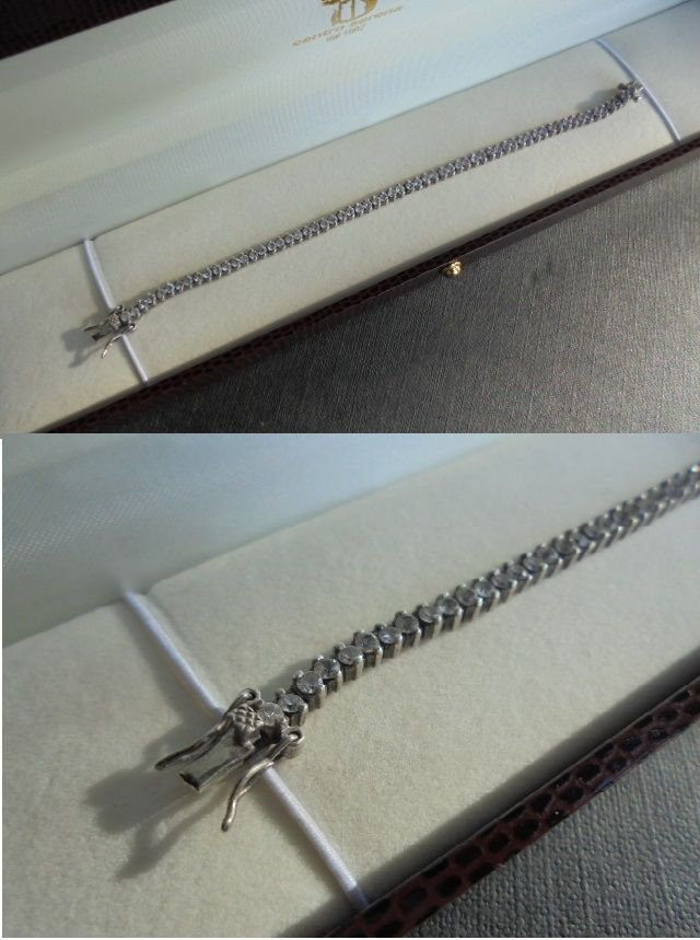 TENNIS BRACELET IN SILVER 925 AND WITH SUPER WHITE BAGUETTE SWAROVSKI CRYSTALS 1980s