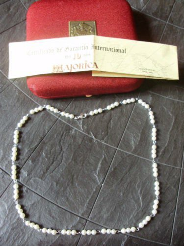 NECKLACE OF MAJORICA PEARLS AND SILVER 925 WITH GARANTEE AND GIFT BOX ORIGINAL