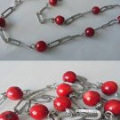 NECKLACE in SILVER 925 and CORAL original 1960s collana corallo e argento 925