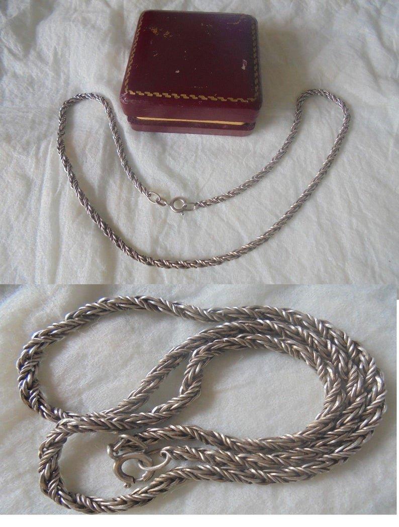 NECKLACE in STERLING SILVER 925 collana girocollo maglia torciglione in argento 925 original 1950s
