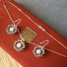 NECKLACE & EARRINGS in silver 925 and MAJORICA pearls ORIGINAL SET 1980 IN GIFT BOX