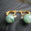 EARRINGS in ALASKA JADE and laminated gold with swarovski stone ORIGINAL IN GIFT BOX