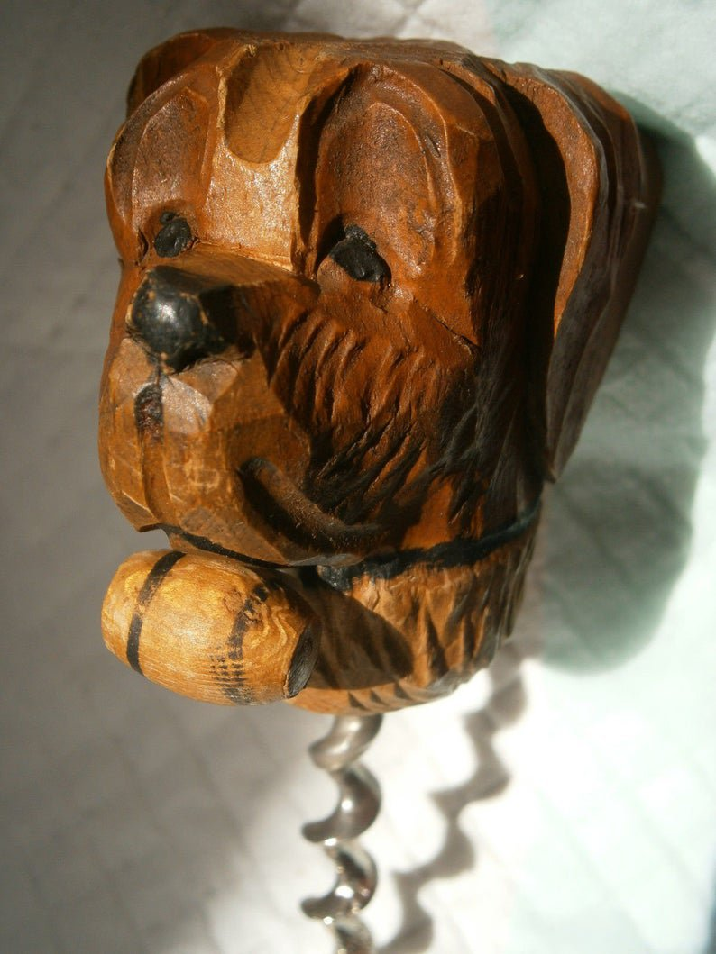 CORKSCREW HAND CARVED wood with dog face original from 1970s