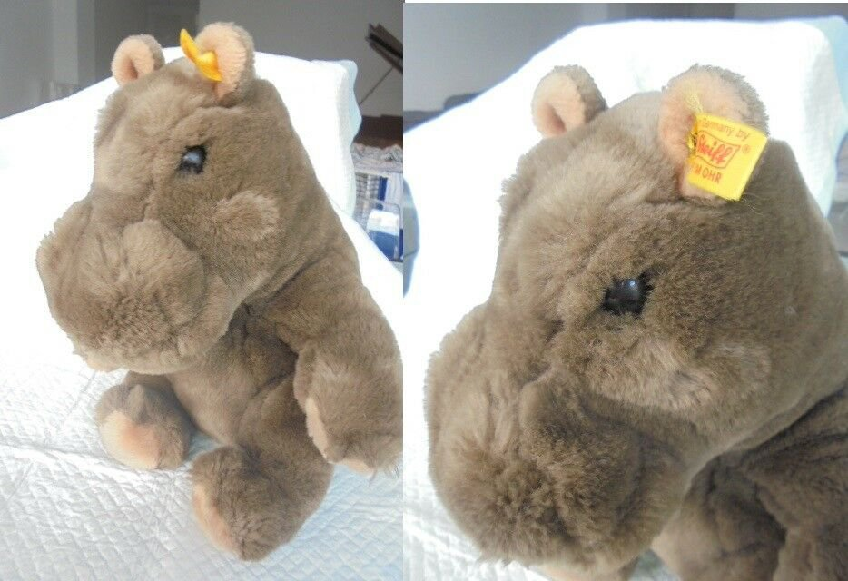 STEIFF GERMANY ORIGINAL 085413 COSY MOCKY IPPOPOTAMO HIPPO CON BOTTONE cm 28