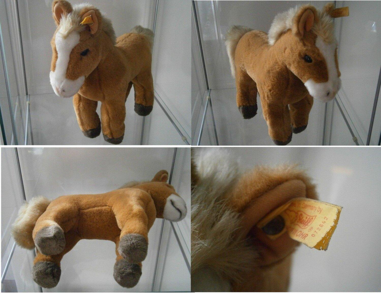 STEIFF GERMANY FERDY BLOND CAVALLO HORSE PFERD 072642 ORIGINALE CON BOTTONE cm34
