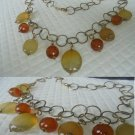 SESTO CONTINENTE GIOIELLI NECKLACE IN SILVER 925 AND GOLD PL. WITH AGATE AGATHA IN GIFT BOX
