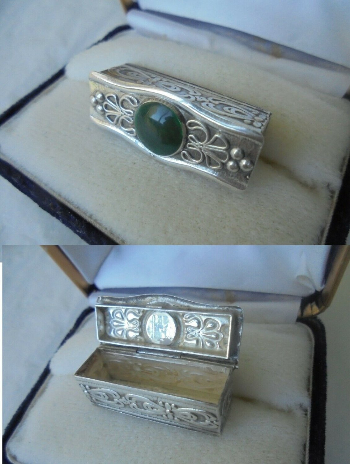 PILL BOX IN SILVER 800 WITH CABOCHON IN AGATHE STONE Liberty FROM 1940s