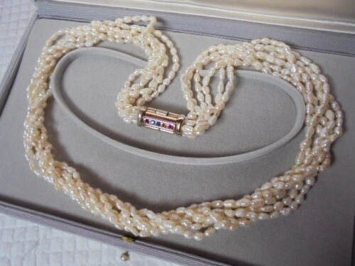 PEARLS NECKLACE 6 STRANDS WITH GOLD PLATED CLIP AND SWAROVSKI CRYSTALS 1970s