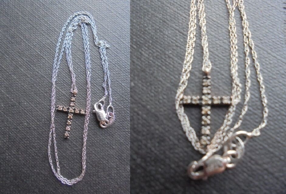 ALFIERI & ST. JOHN NECKLACE WITH CROSS IN WHITE GOLD 18 KT AND DIAMONDS +BOX
