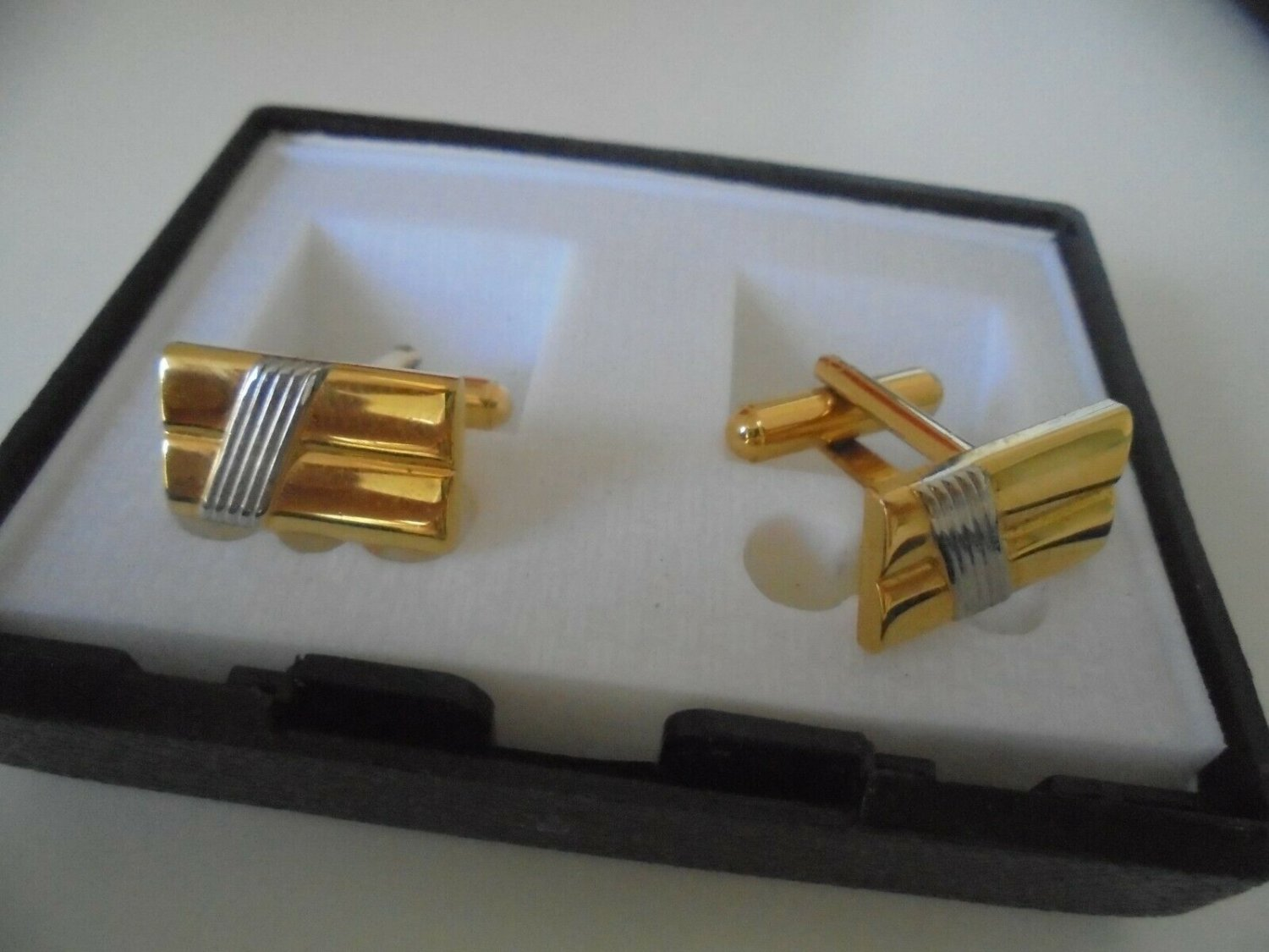 CUFFLINKS PLATED SILVER AND GOLD FROM 1970s in GIFT BOX ORIGINAL