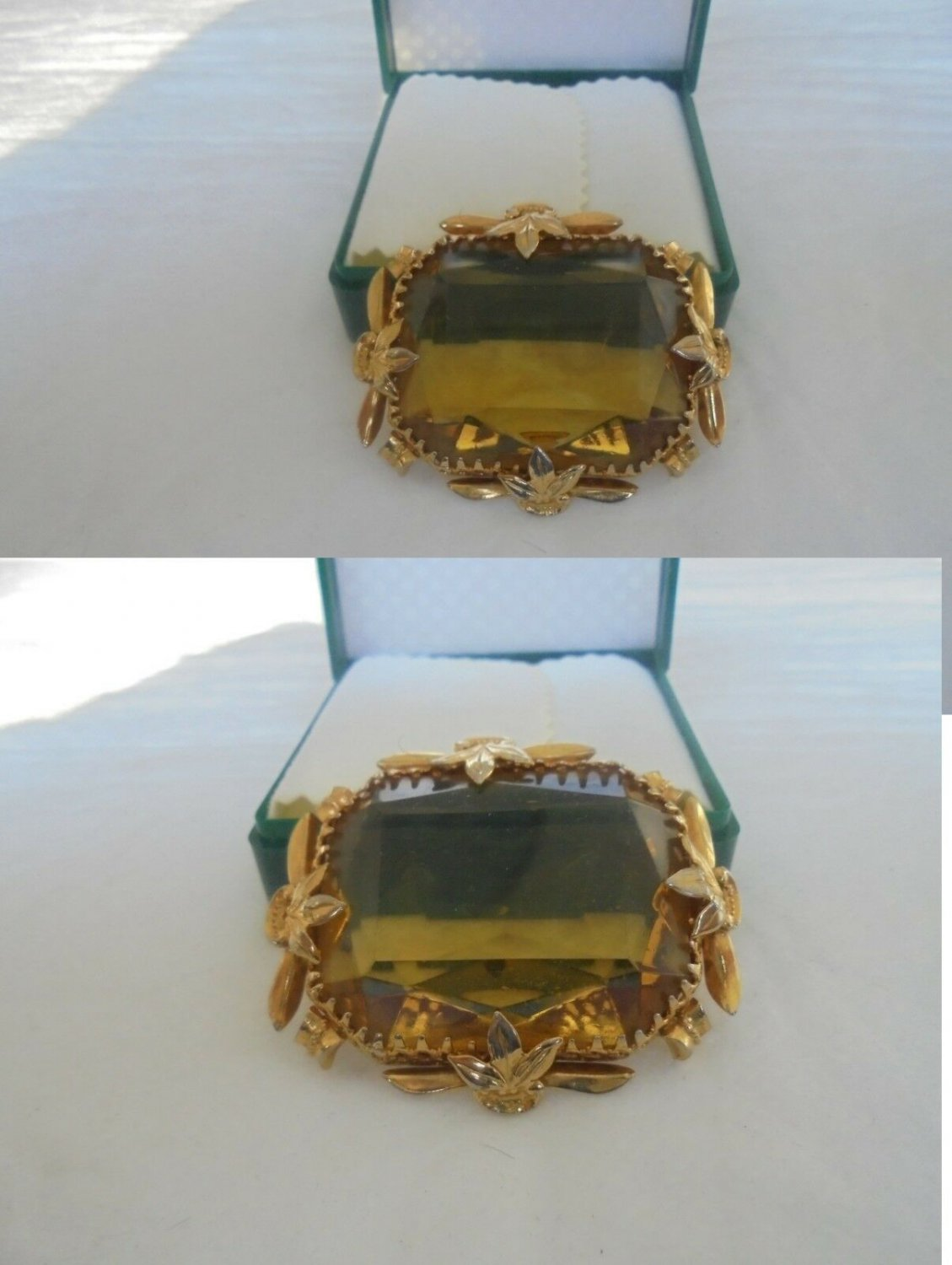 VINTAGE BROOCH PLATED GOLD VICTORIAN STYLE WITH BIG TOPAZ 1960s