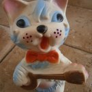 LEDRA CAT WITH MANDOLIN 1960s cm 22.5 Original RUBBER SQUEAKY CAT TOY