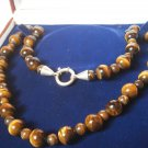TIGER EYE SPHERES NECKLACE WITH CLIP IN STERLING SILVER 925 IN GIFT BOX ORIGINAL