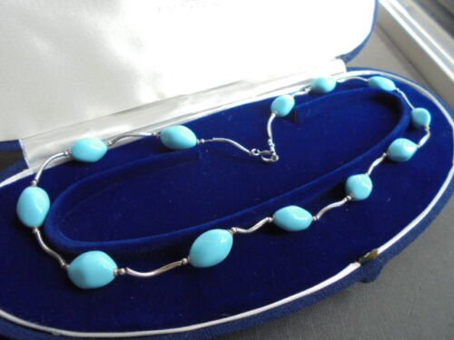 MURANO ITALY LIGHT BLUE GLASS NECKLACE AND SILVER STERLING 925 IN GIFT BOX