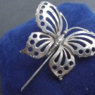 BUTTERFLY BROOCH in SILVER 800 made in Genova Italy 1980s Original in gift box