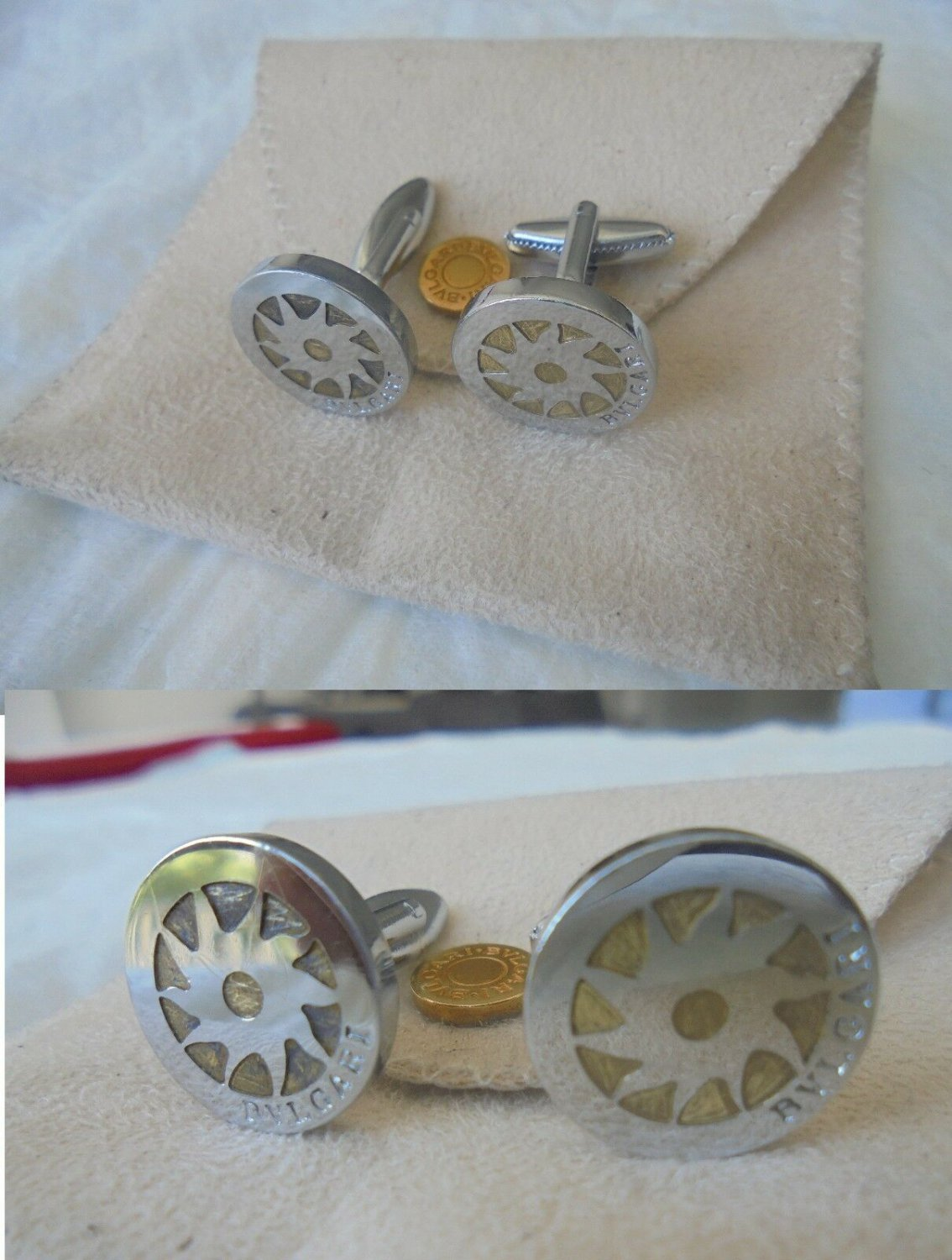 Bulgari cufflinks in steel and with inserts in gold 18KT Original in gift pochette