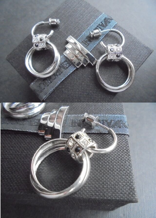 EMPORIO ARMANI EARRINGS ring shape in sterling silver 925 and with Swarovski Originals in gift box