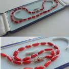 NECKLACE in red CORAL of the Mediterranenan and STERLING silver 925 original 1950s in gift box