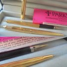 PARKER 180 fountain and ball pens set in GOLD 14K ORIGINAL in gift box with garantee