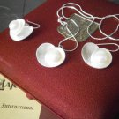 NECKLACE and EARRINGS set in Sterling SILVER 925 with Majorica pearls heart shape gift box +garantee
