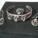 Sterling SILVER SET 925 earrings Ring and bracelet by Indian Pueblos of New Mexico USA + gift box