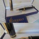 WATERMAN EXPERT fountain pen lacque black and gold color in gift box + garantee Original
