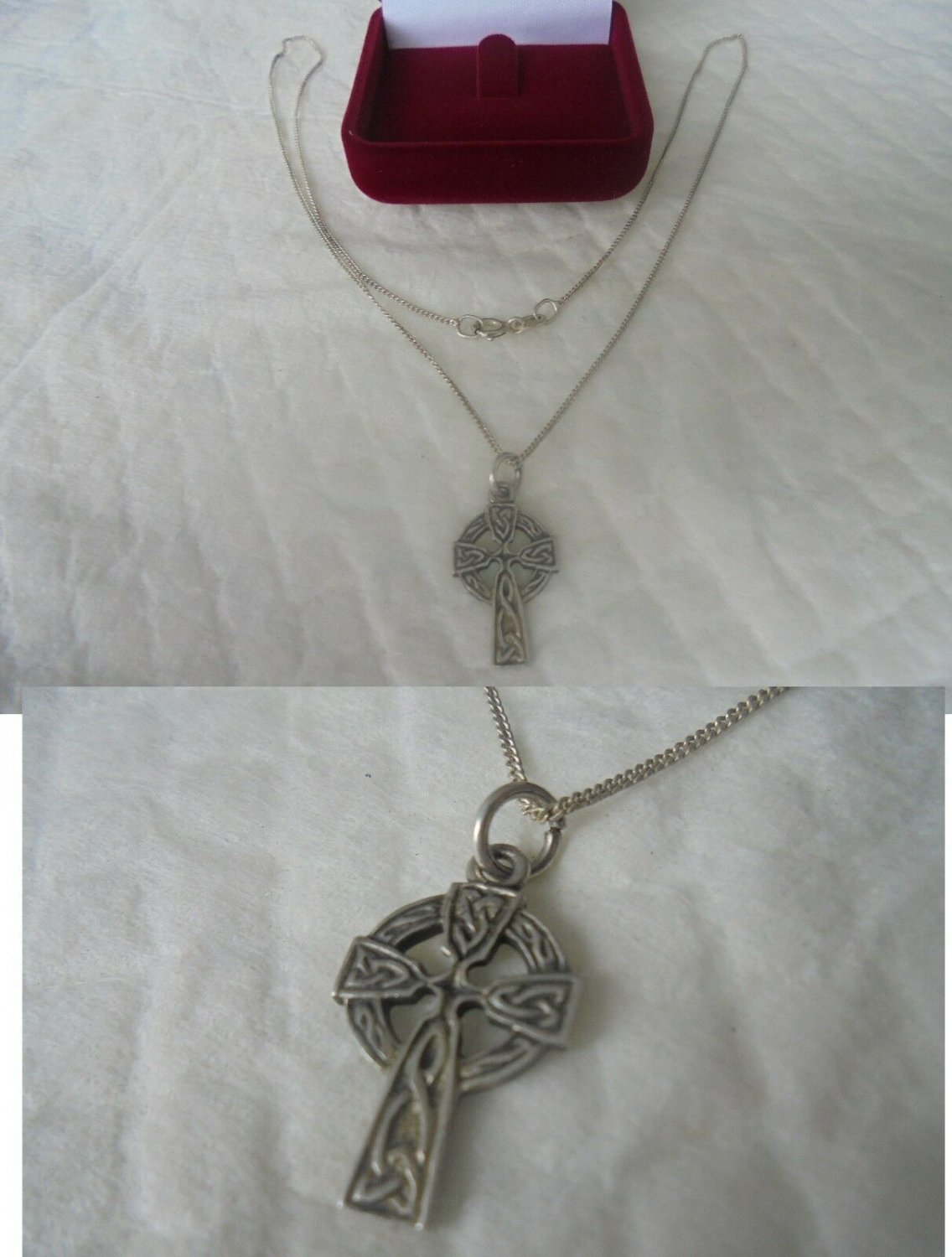 NECKLACE and  Celtic CROSS pendent in sterling SILVER 925 in gift box Original