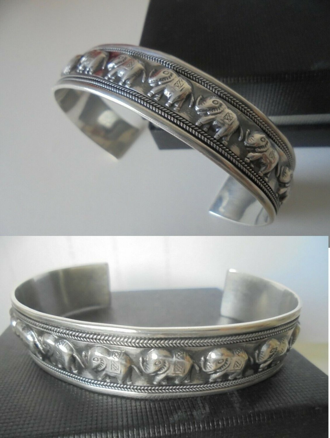 SILVER sterling 925 BRACELET with ELEPHANTS Original in gift box