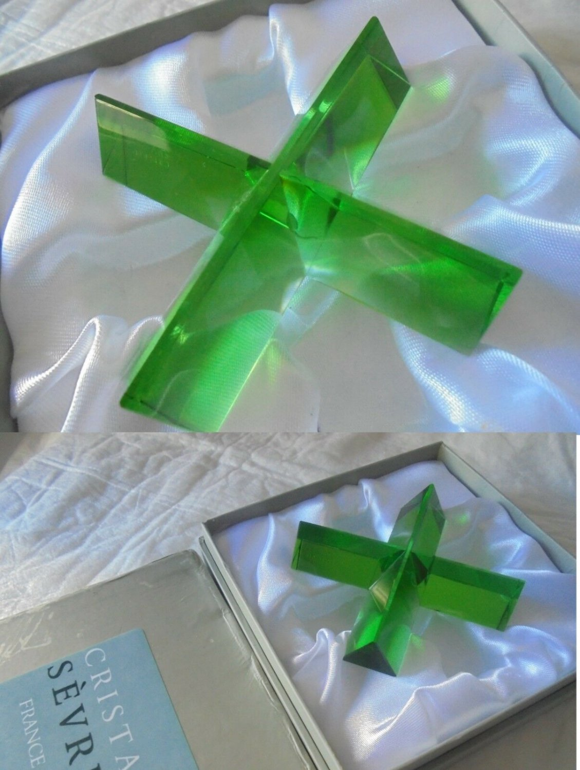 CRISTAL SEVRES paperweight paper weight crystal green color  X shape in gift box Original