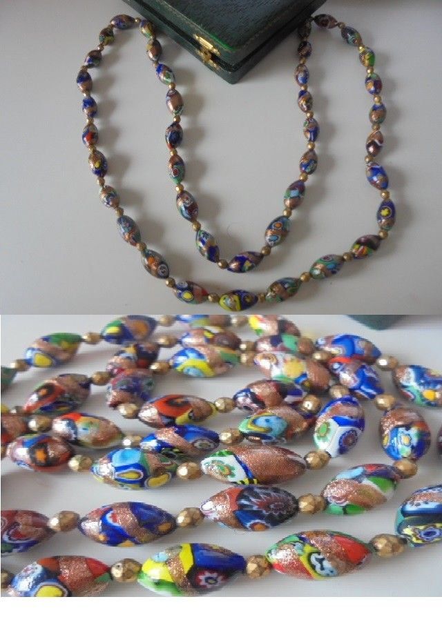 MURANO long NECKLACE made with colorfull MURRINE Original in gift box