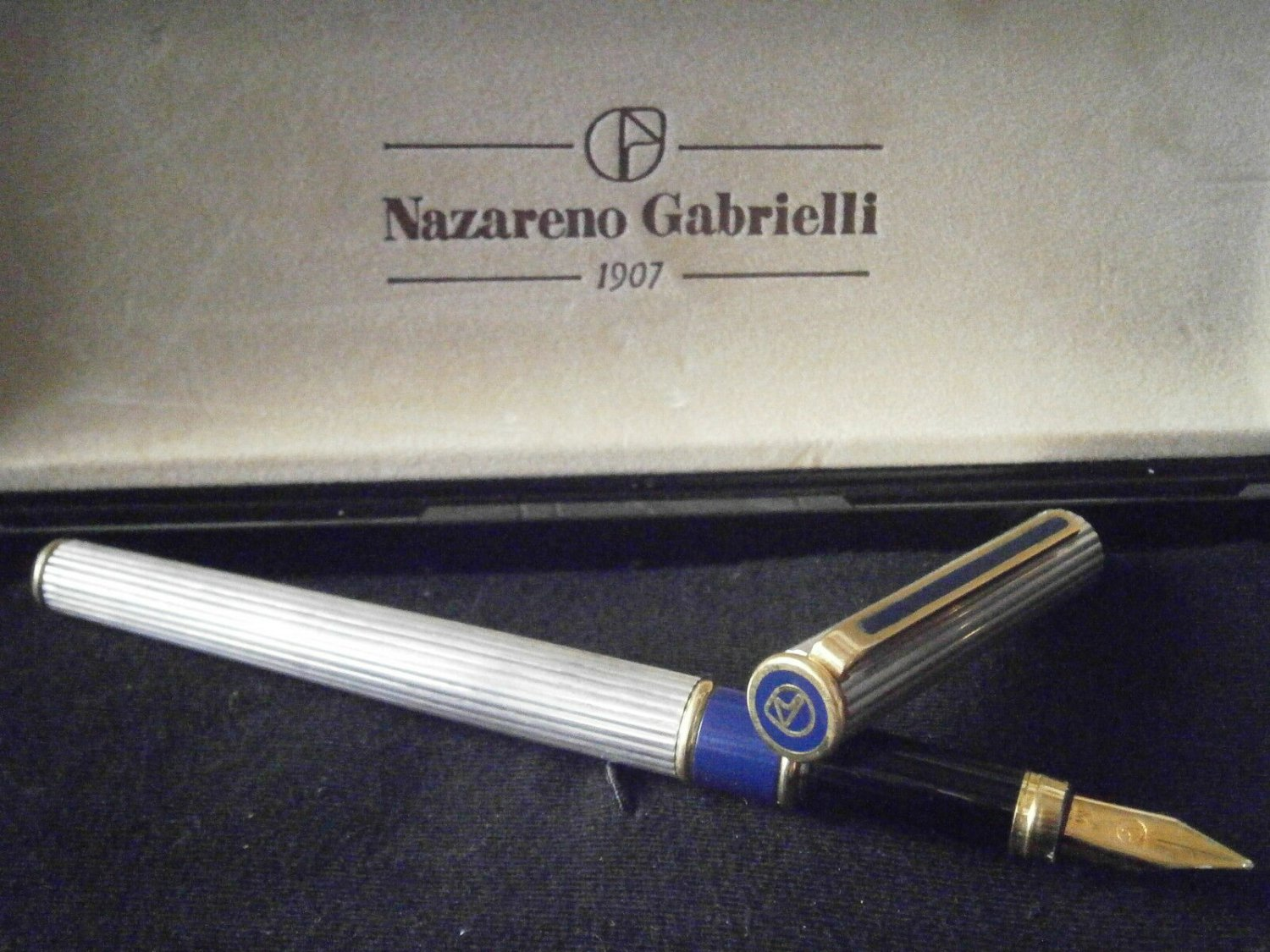NAZARENO GABRIELLI fountain pen in sterling SILVER 925 and lacque blue in gift box Original Italy