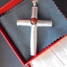 CROSS in sterling SILVER 925 and CABOCHON of Agatha agate stone charm pendent Original in gift box