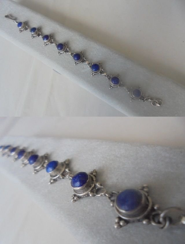 BRACELET in Sterling SILVER 925 with lapis lazuli stones Original in gift box