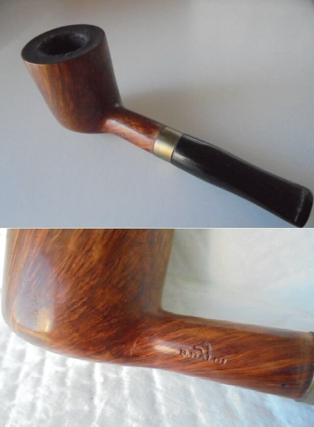 B. BALDI smoked PIPE with ring SILVER Gold plated 1990s Original