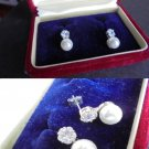 MIKIMOTO earrings in SILVER 800 with real PEARLS and Swarovski crystals in gift box Original