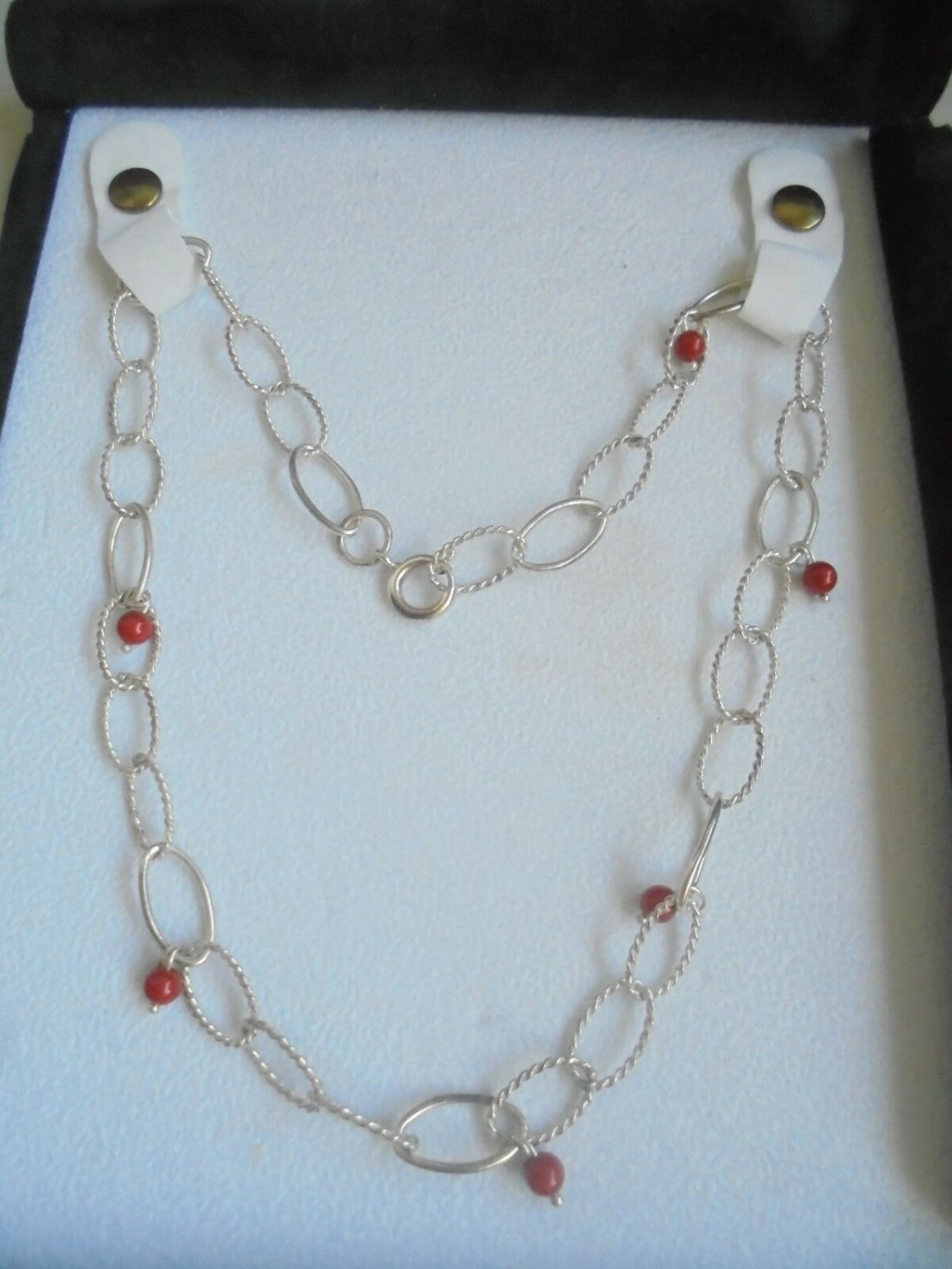 NECKLACE in SILVER sterling 925 and CORAL from the Mediterranean Original in gift box