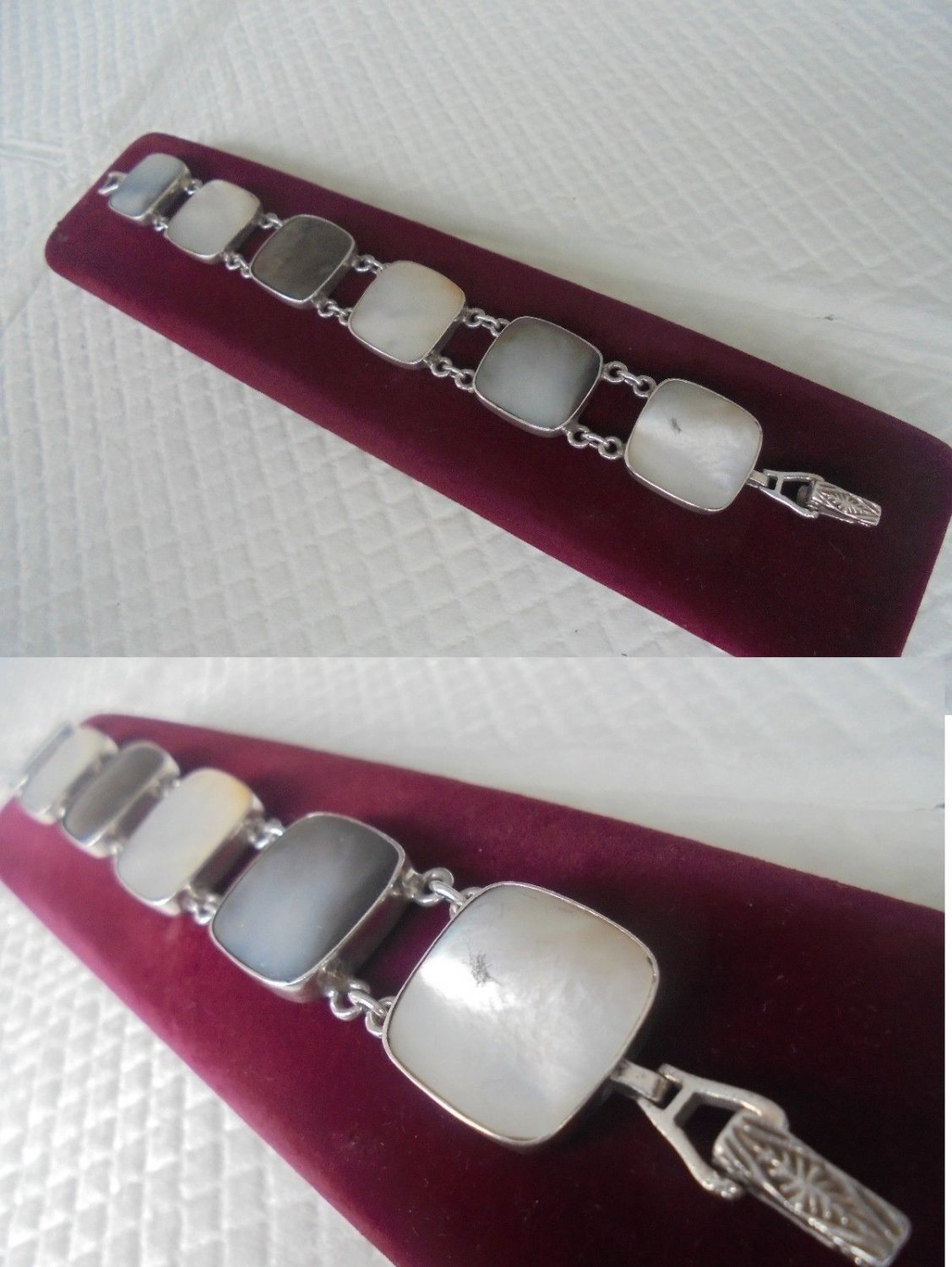 BRACELET in heavy sterling SILVER 925 and mother of PEARL in gift box Original
