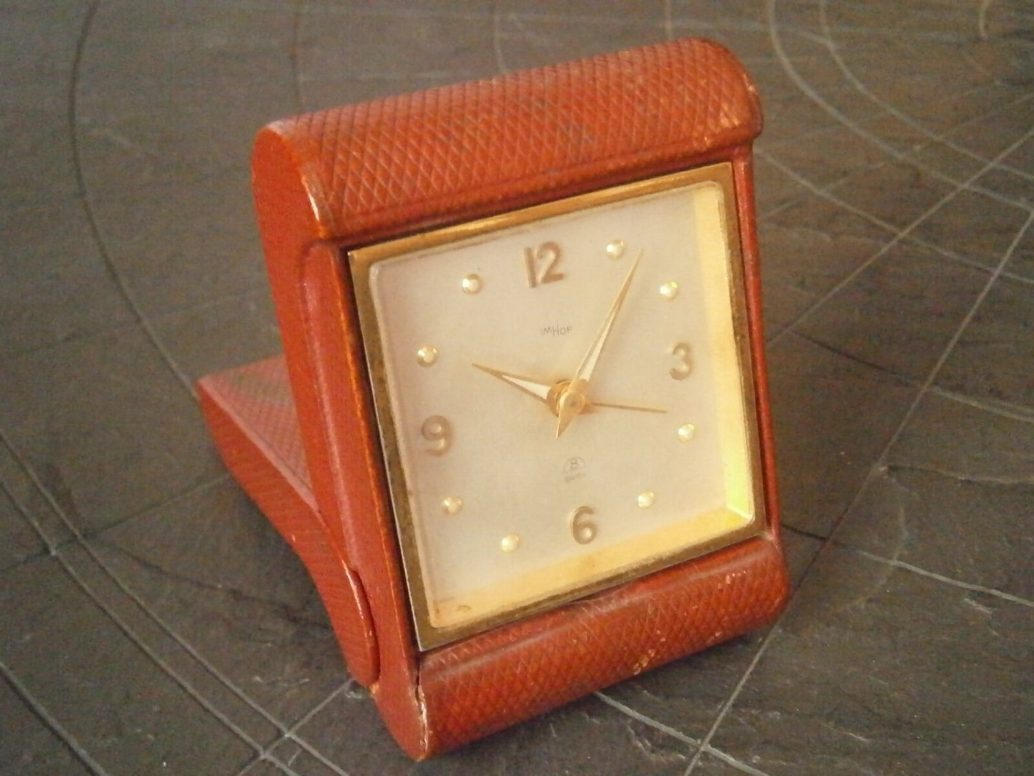 IMHOF SWISS alarm clock for travel or desk working Original from 1950s
