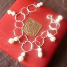 BRACELET in sterling SILVER 925 with MAJORICA pearls pendents in gift box Original