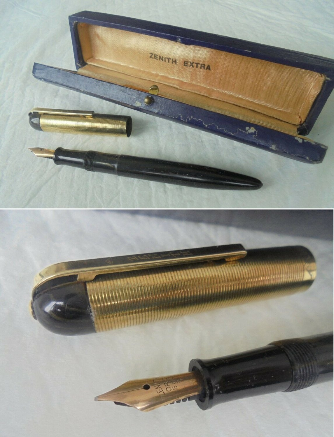 ZENITH EXTRA Lever filler Fountain pen Gold 18K in gift box Original from 1950s